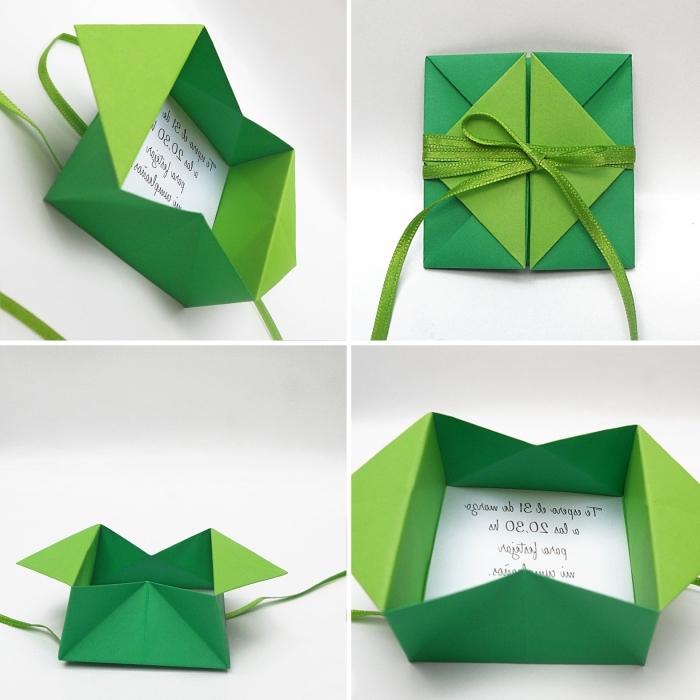 enveloppe fait main à design boîte carte postale fabriquée avec papier coloré et la technique de pliage origami