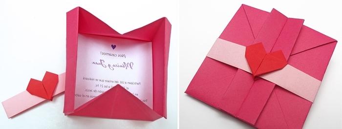 origami enveloppe, modèle d'enveloppe DIY fabriquée en papier rouge avec la technique de pliage origami