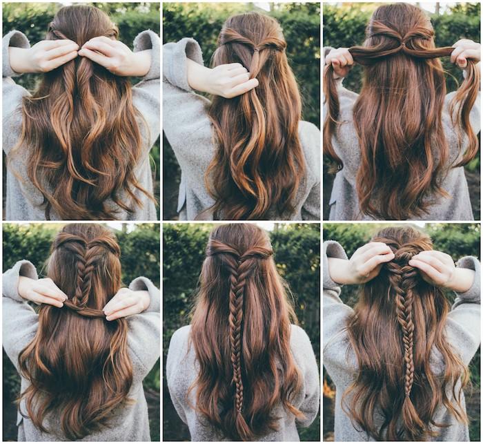 tuto tresse épi de blé sur longs cheveux chatain foncé et une tresse en arrière, exemple de coiffure demoiselle d honneur