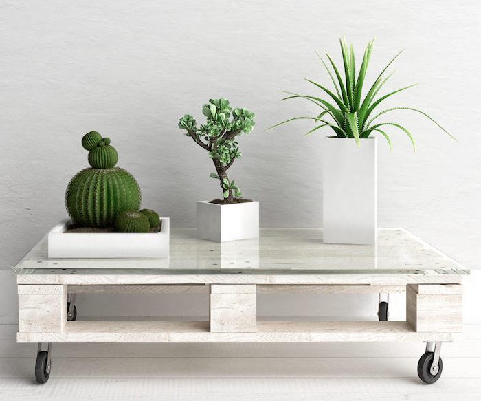 table basse palette en blanc avec plateau en verre et des roulettes, rangement plantes vertes, parquet blanchi
