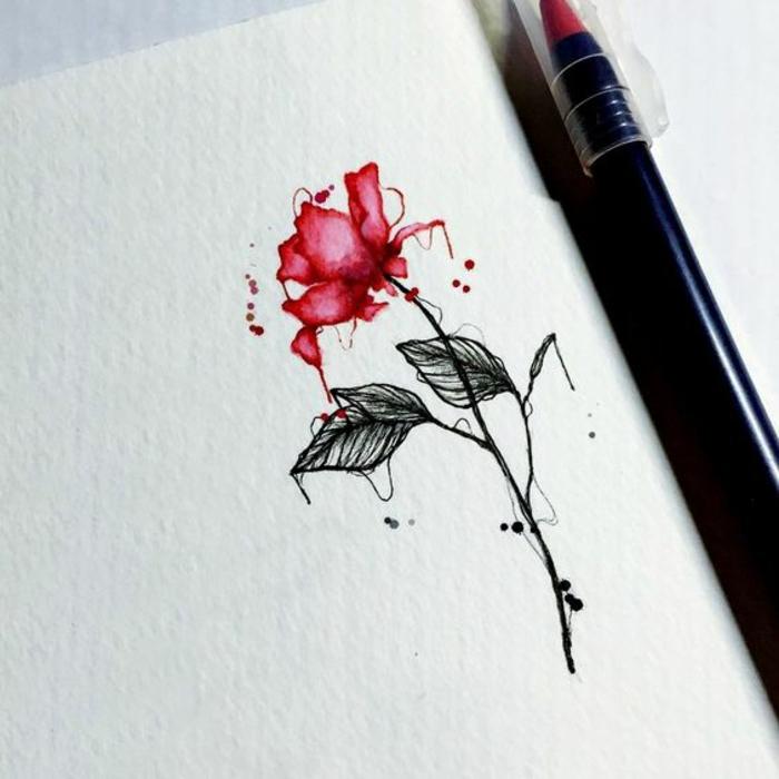 Dessin minimaliste les plus beaux tatouage homme rose couleur eau