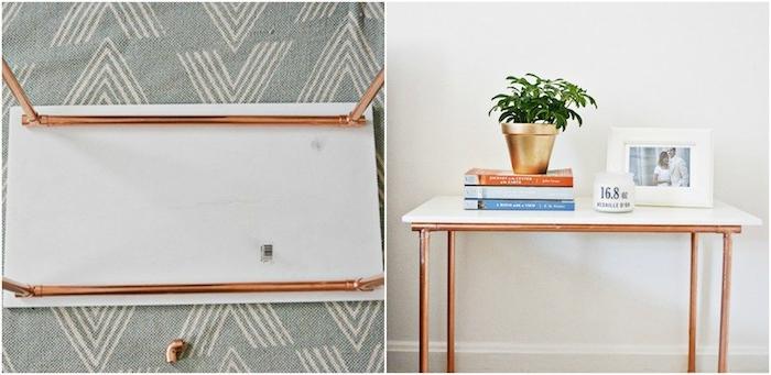 modele de table basse en plateau rectangulaire de marbre et des tubes de cuivre, bricolage simple et rapide