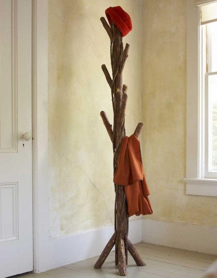 porte manteau scandinave en bois flotté intérieur