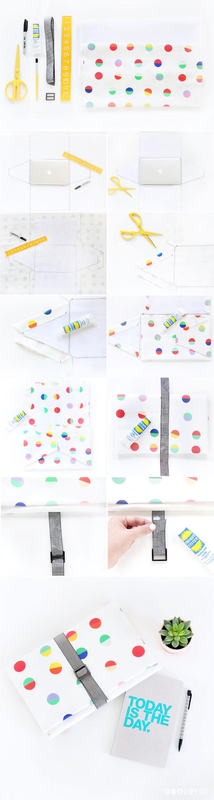 enveloppe kraft, idée créative pour faire une poche tablette ou laptop en tissu blanc à points colorés