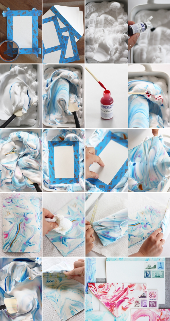 comment créer un effet marbré avec mousse à raser et colorant alimentaire pour décorer une enveloppe blanche