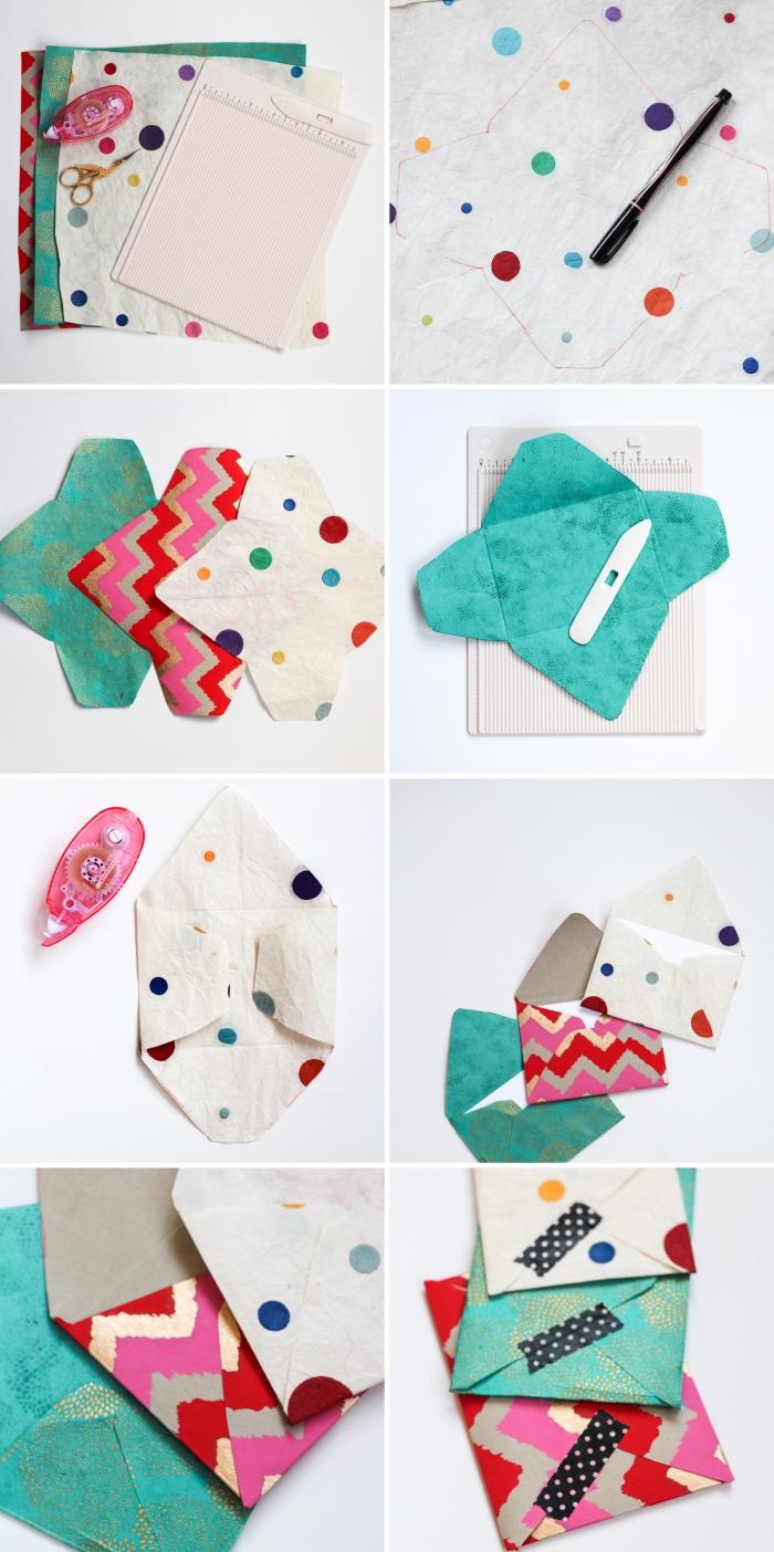 enveloppe kraft, idée comment fabriquer des enveloppes en tissu ou papier coloré, technique de pliage