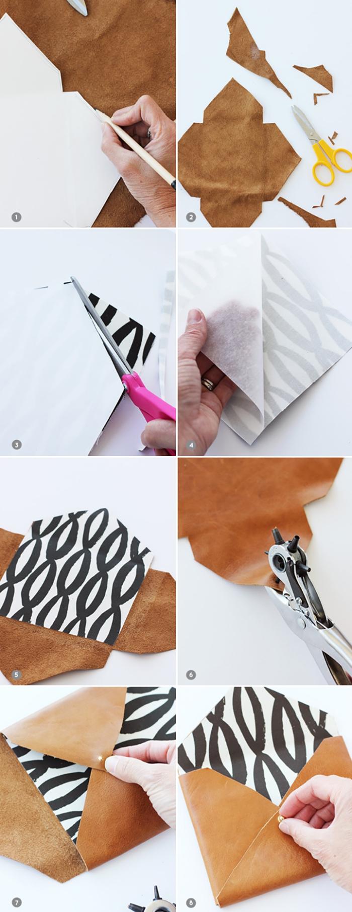 étapes à suivre pour réaliser une pochette en faux cuir avec boutons et technique de pliage