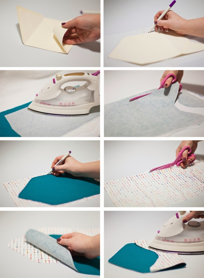 enveloppe kraft, utiliser une enveloppe blanche en papier pour faire une enveloppe de tissu avec interfaçage et fer à répasser