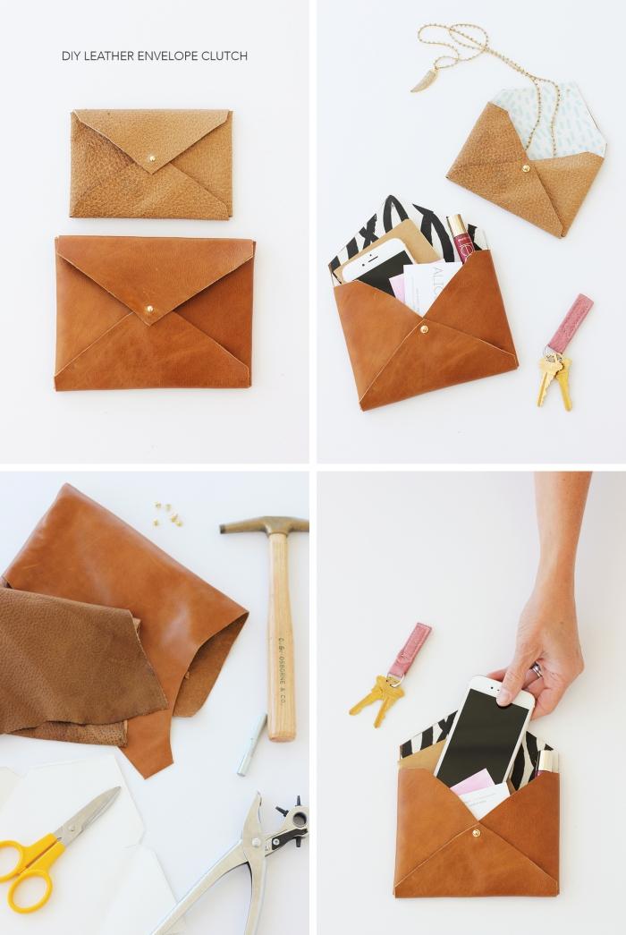 idée comment fabriquer une poche en faux cuir avec boutons, étapes à suivre pour fabriquer une enveloppe en cuir
