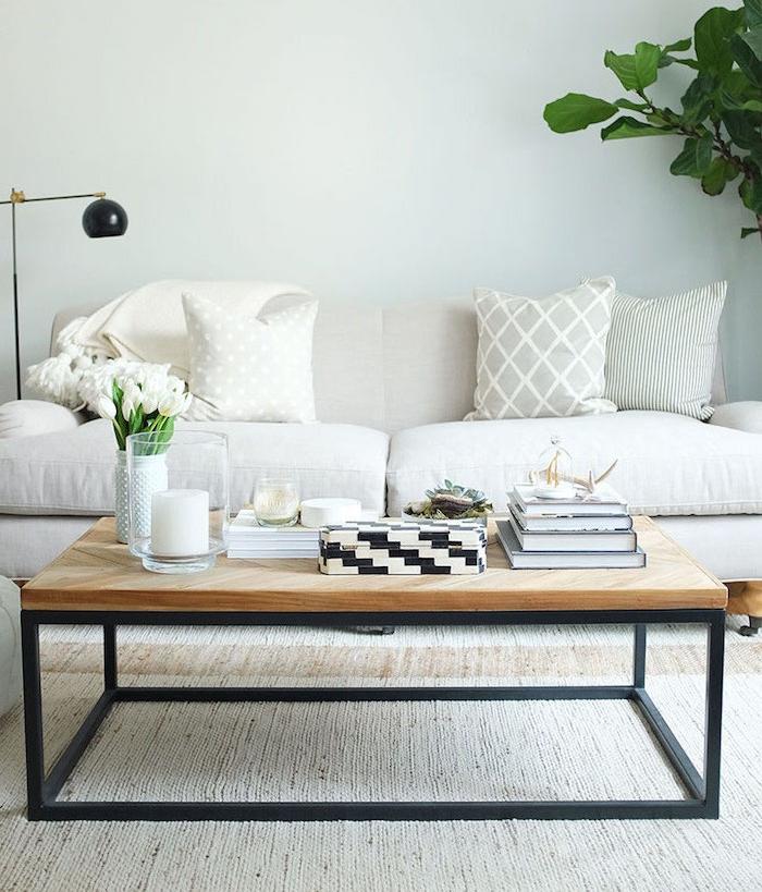 fabriquer une table basse en pieds de metal noirs et plateau bois rectangulaire, canapé blanc cassé, accents plantes vertes