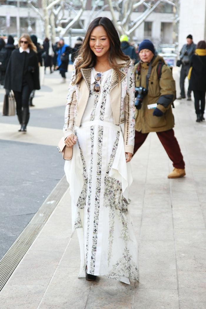 Quelle robe d été choisir robe fleurie robe longue zara blanc avec veste cuir sans manches