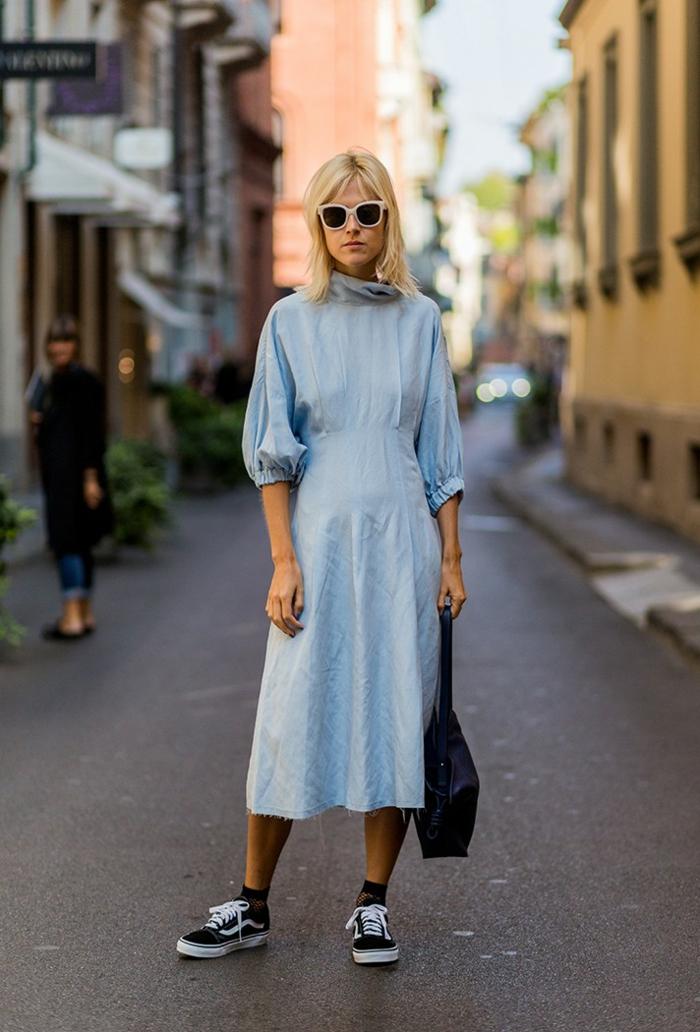 Robe longue denim avec manches robe fluide tenue d aujourd hui