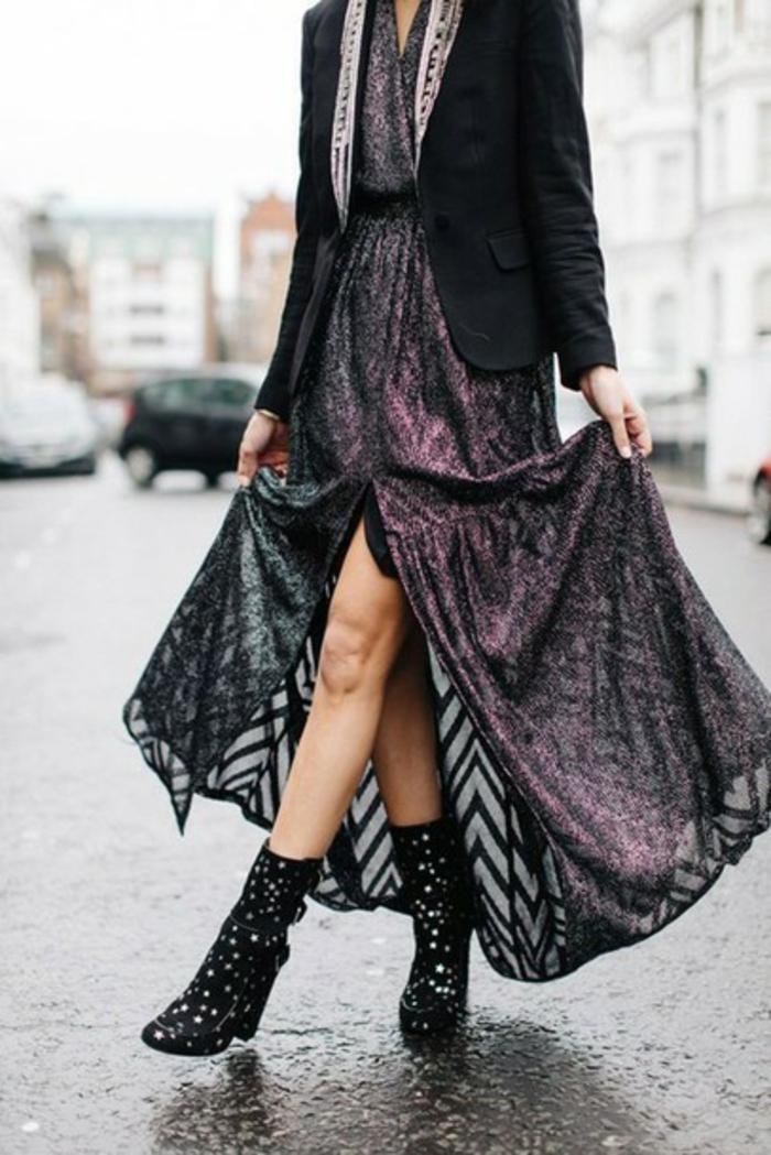 Comment s habiller aujourd'hui idée tenue chic robe longue de soirée veste noir chic