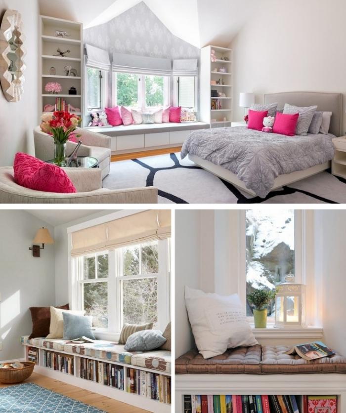 idée pour l'aménagement et la décoration du coin lecture dans la chambre teenage fille aux murs blancs