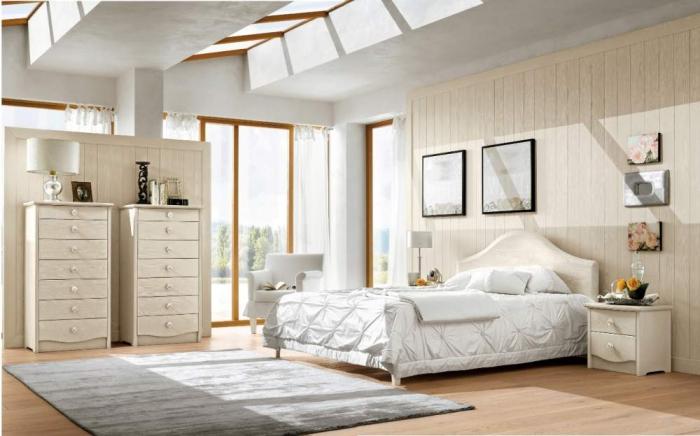 chambre design blanc et beige au plafond en béton et fenêtres bois avec revêtement mural en bois clair