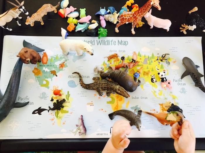 figurines d animaux à disposer sur une carte du monde, activite enfant 3 ans maternelle, apprentissage géographqie