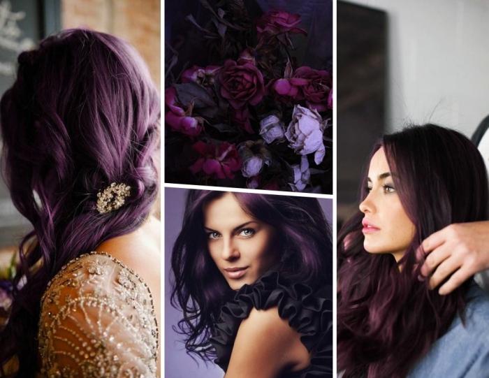 teinture cheveux violets sur base marron, coiffure de mariée aux cheveux longs attachés de côté avec bijou en or