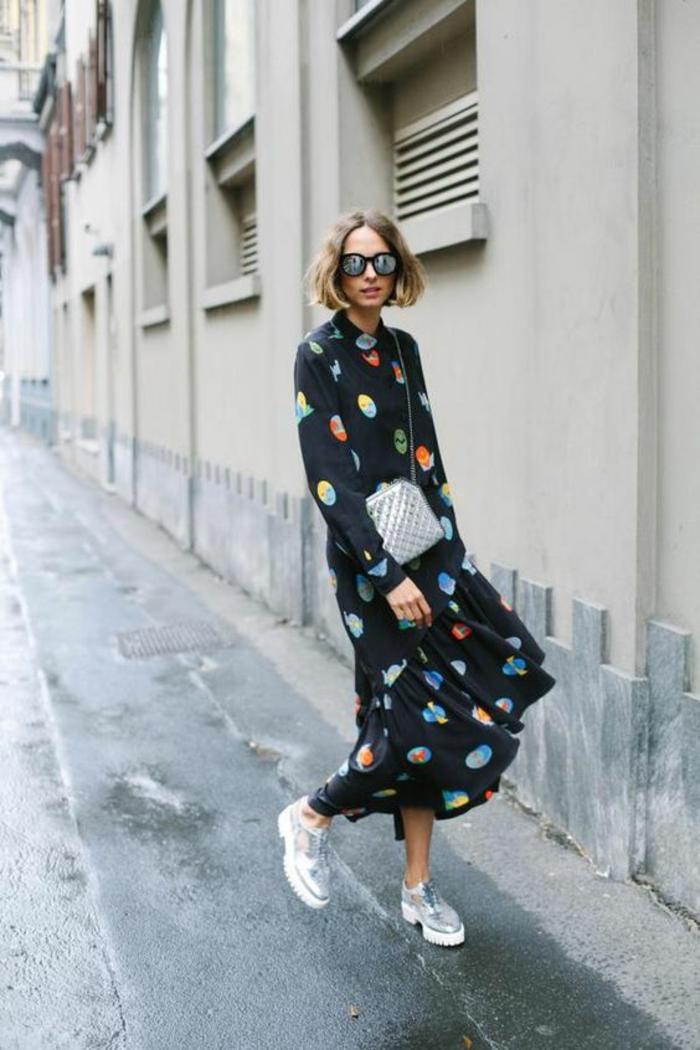 Superbe robe longue fluide robe hiver tenue d hiver robe longue moderne baskets