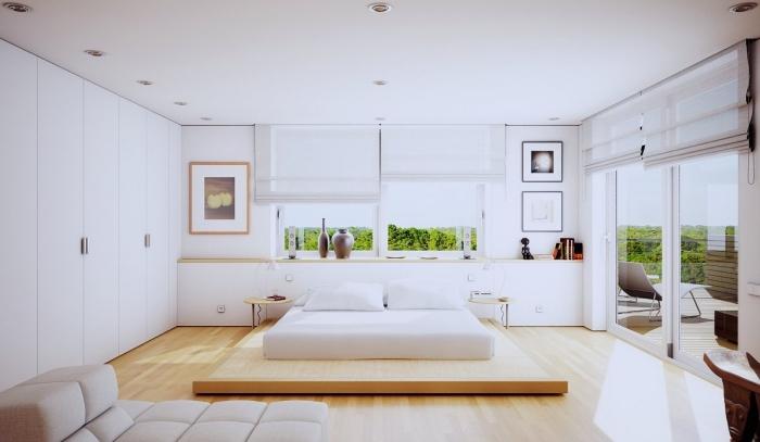 couleur pour chambre à design moderne avec garde-robe blanche et parquet de bois clair, décoration murale avec peintures