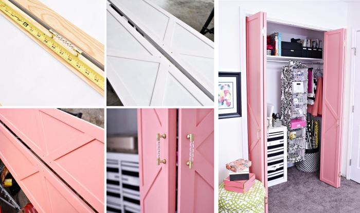 comment décorer les meubles avec une couche de peinture rose poudré, arrangement garde-robe chambre ado fille