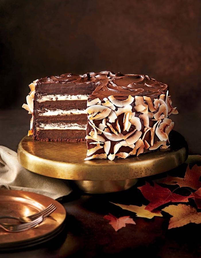 recette gâteau au chocolat et à la crème de noix de coco avec ganache de chocolat noir