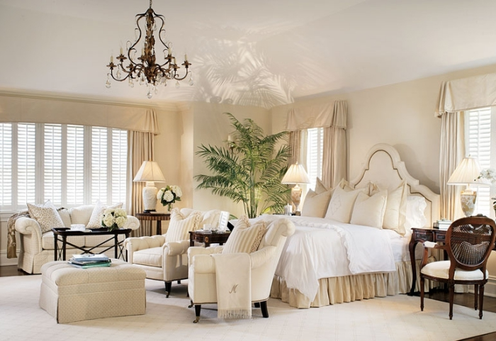 ambiance sereine et relaxante dans la chambre blanche et beige obsigen. Black Bedroom Furniture Sets. Home Design Ideas