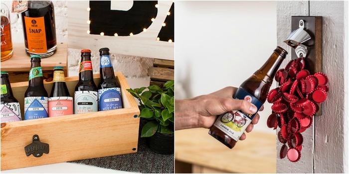 idée cadeau homme pour ceux qui apprécient la bière, un coffret de bières artisanale et un ouvre-bouteille mural