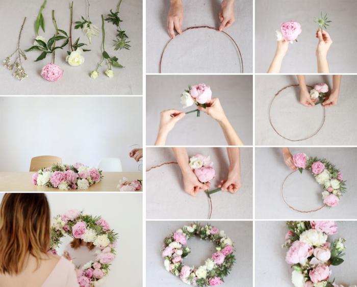 idée déco chambre cocooning avec un miroir à design florale, comment faire un miroir diy à cadre floral