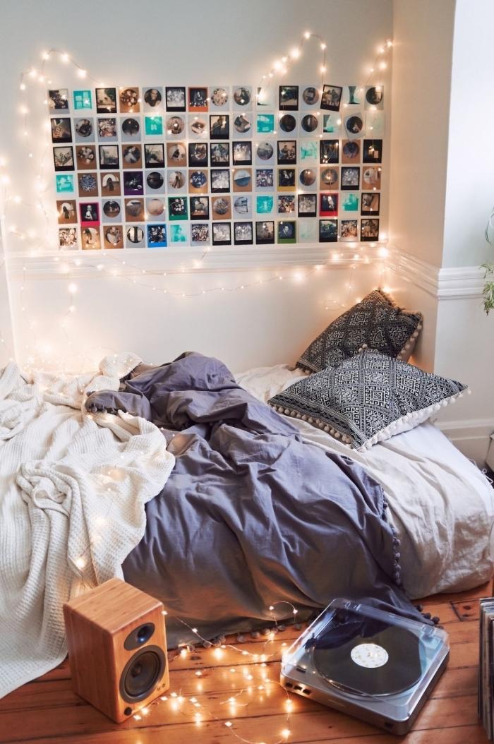 que faire avec les photos, décoration chambre fille ado avec photos et guirlande lumineuse sur les murs blancs