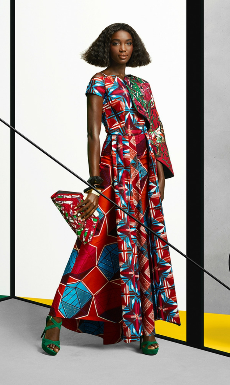 jupe longue africaine, robe longue, robe africaine, modele pagne, tenue africaine femme, modèle de robe avec une manche longue et une manche courte