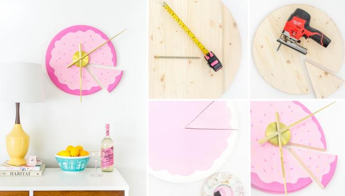 tutoriel pour faire un horloge diy à design donut rose pour la chambre d ado fille, activité manuelle pour adultes