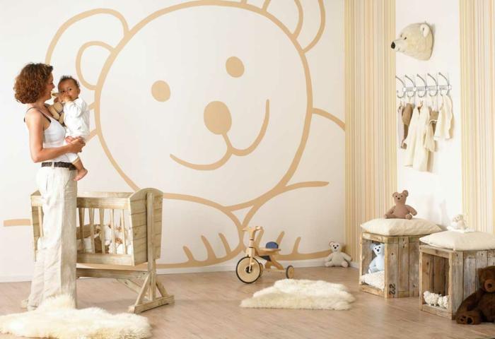 idée déco chambre bébé mixte, chambre enfant, mobilier en bois, tapis fourrure