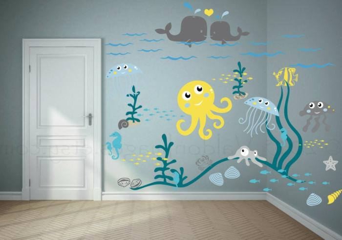 idée sympathique pour la chambre d'enfant, peinture murale fond marin