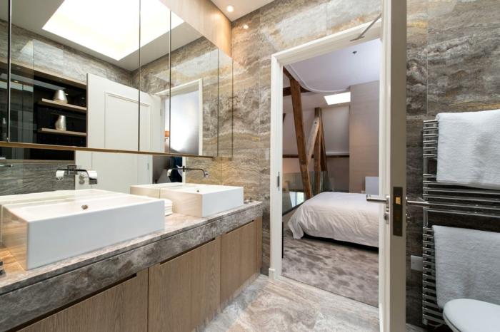 salle de bain pierre naturelle, vasques à lignes droites, range-serviettes mural, grand miroir