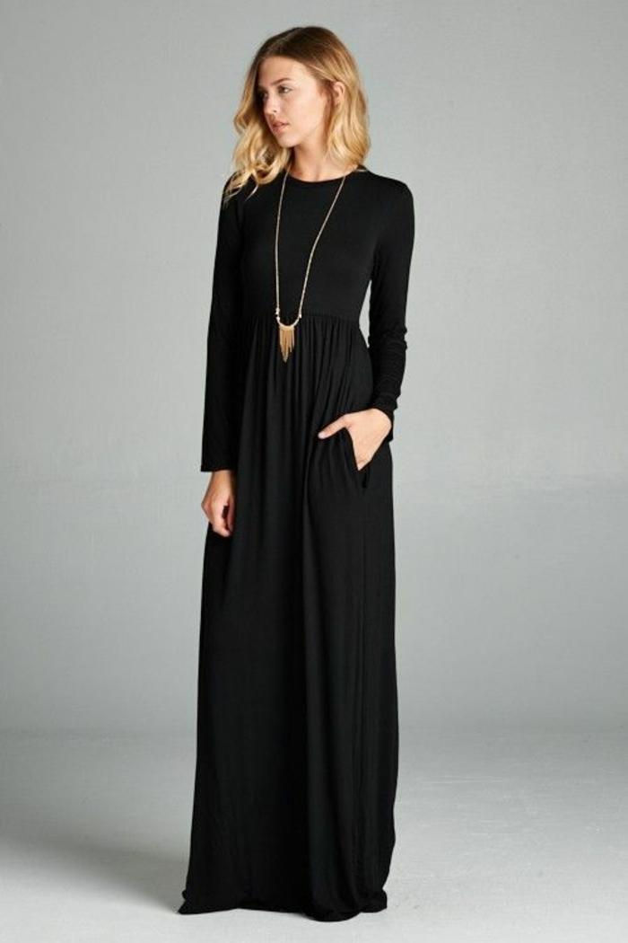 Jolie robe noire manches longues quelle robe aujourd hui robe longue simple