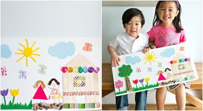 exemple d activité manuelle maternelle avec materiel montessori, arbres, nuages, fleurs et filles en feutrine et maisonette en batonnets de glace, petits galets décoratifs