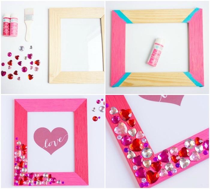 exemple de cadeau pour sa meilleure amie, fabriquer un cadre photo en bois repeint en rose et décoré de pierres colorées