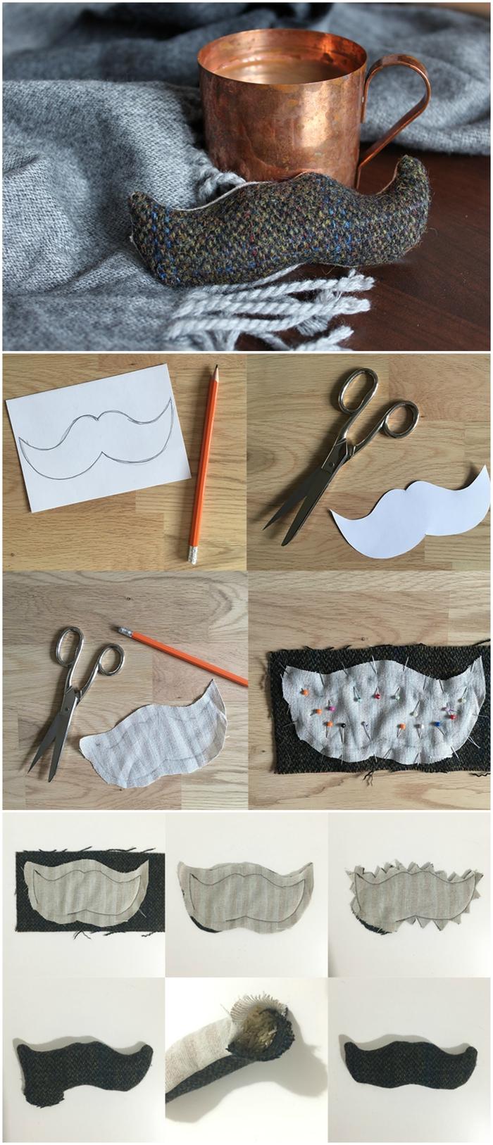 tuto de couture facile pour faire un chauffe-mains en forme de moustache en tweed, idée cadeau homme 40 ans