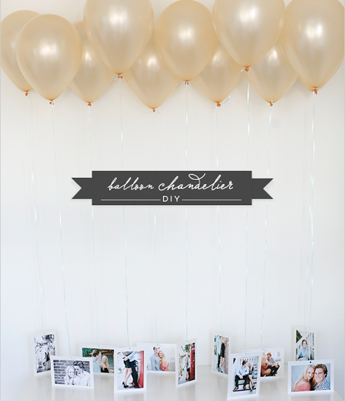 des ballons au helium avec des photos suspendues, idée de surprise cadeau st valentin pour elle