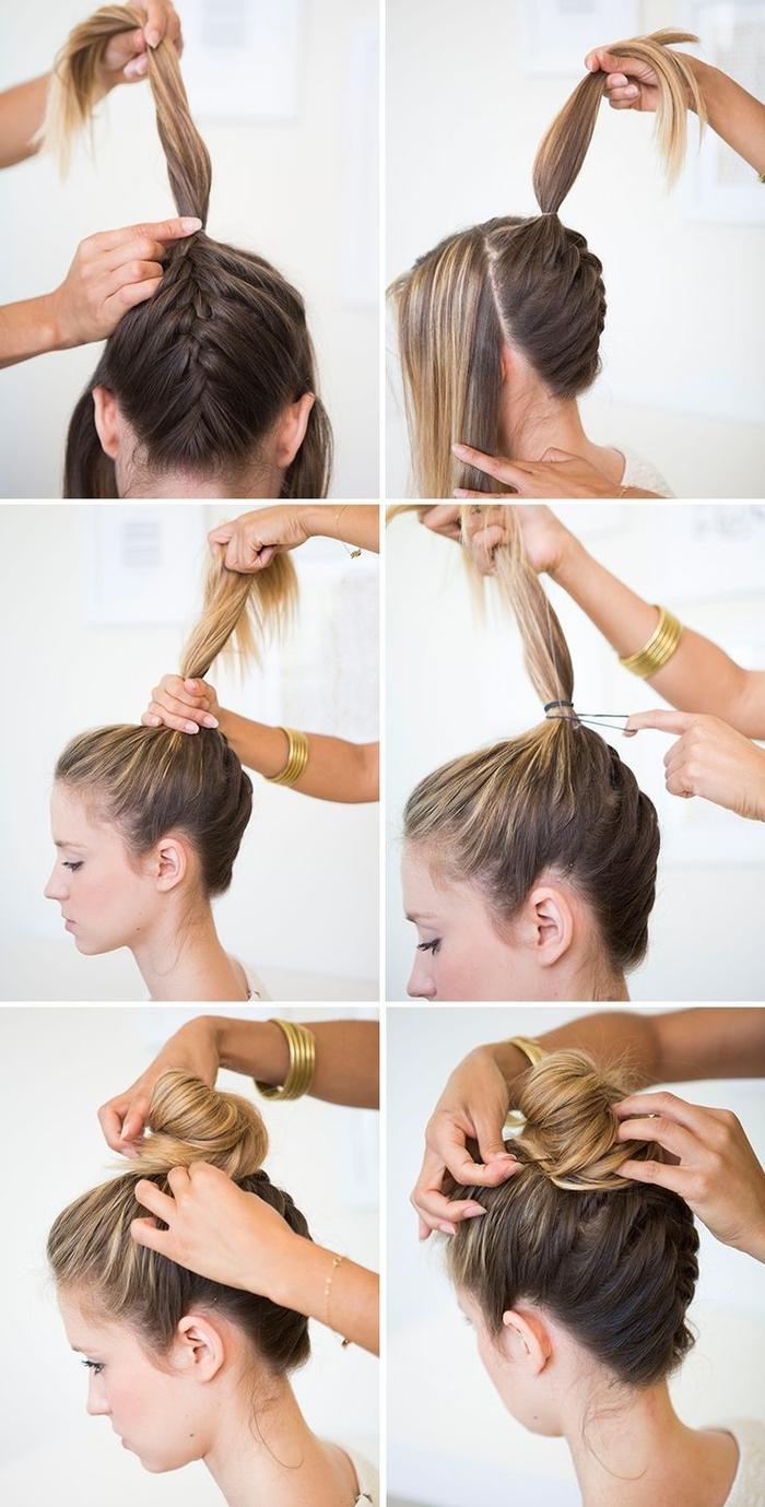 tuto chignon bun haut facile sublimé par une tresse inversée, idée pour une coiffure chic et facile à réaliser pour cheveux longs