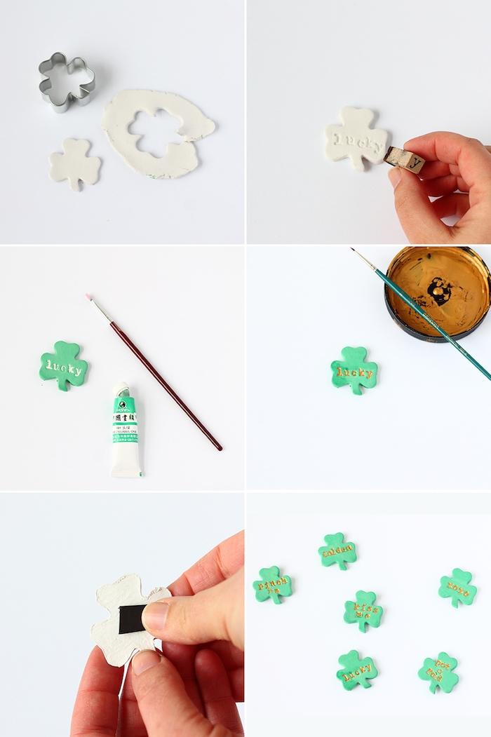pate fimo tuto pour fabriquer une trèfle verte avec empreintes de lettres dorées, bricolage facile et rapide