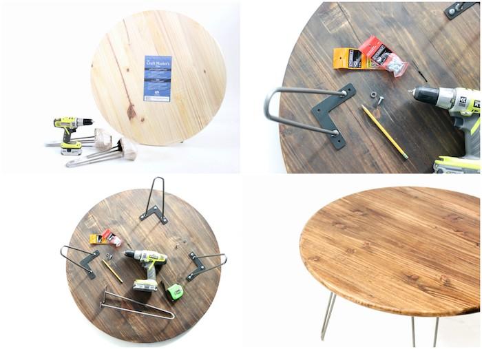 tutoriel pour fabriquer une table basse en plateau en bois rond et des pieds de table en epingle a cheveux