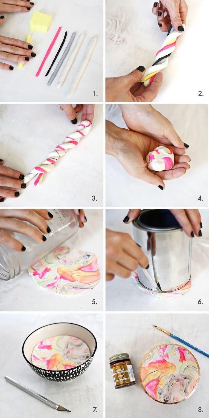 pate fimo tuto, comment faire une coupelle de rangement en diverses couleurs à effet marbre, réalisation étape par étape