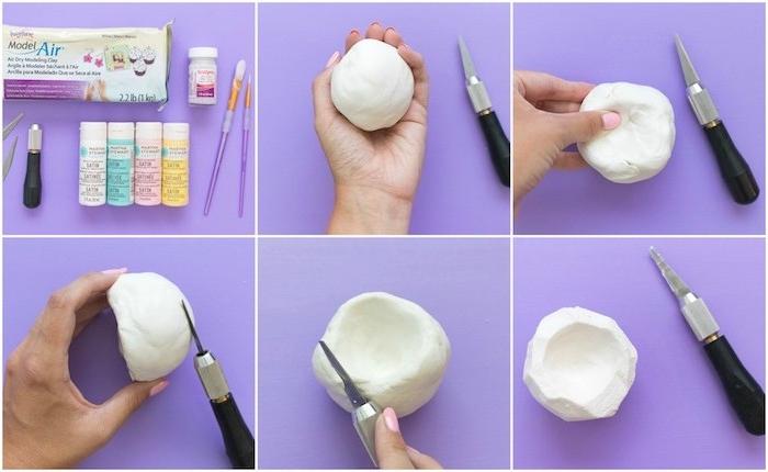 pate fimo tuto pour fabriquer une coupelle de rangement de bijoux, idée comment modeler de la pâte polymère étape par étape