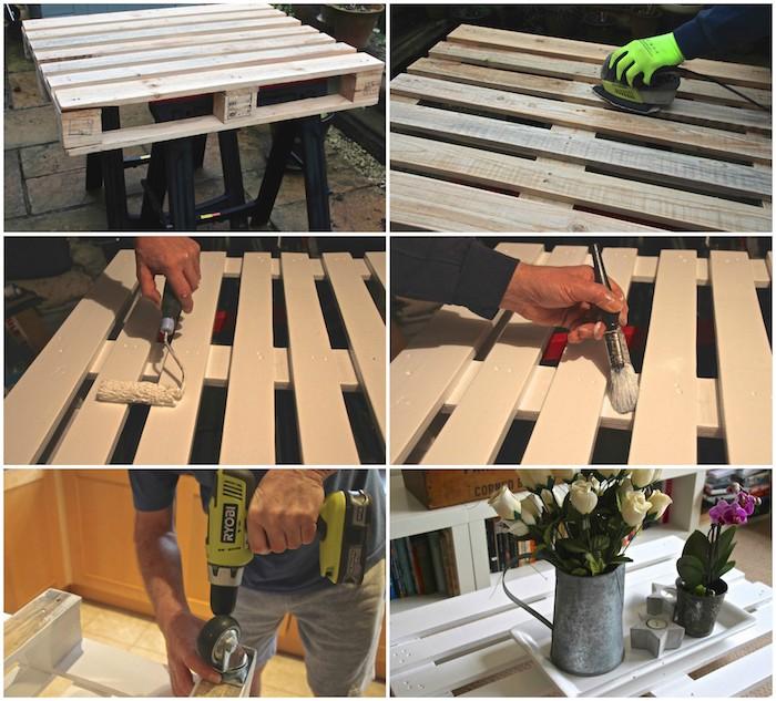 table basse palette, bricolage facile étape par étape. polir et repeindre la palette en blanc, comment monter des roulettes
