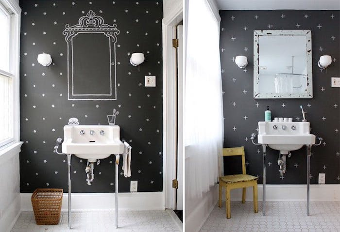 décoration salle de bain à la peinture ardoise et motif points et plus blancs, lavabo console, carrelage sol blanc