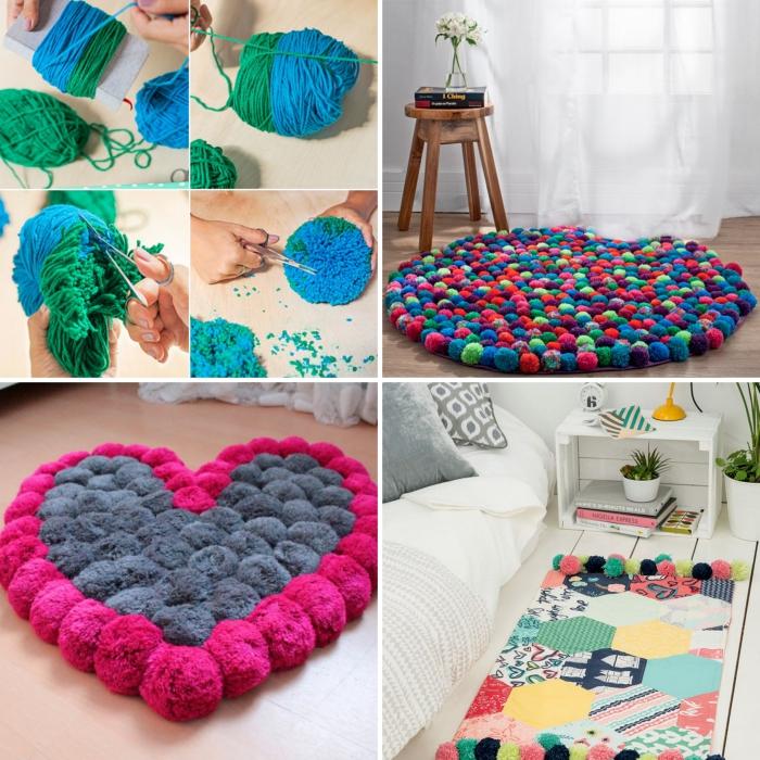 créations en pompons diy faciles pour la déco d'intérieur dans la chambre ado, tapis rond en pompons colorés