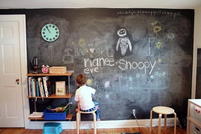 peinture ardoise dans la chambre enfant, tout un mur en dessins d enfant, parquet marron, etagere enfant