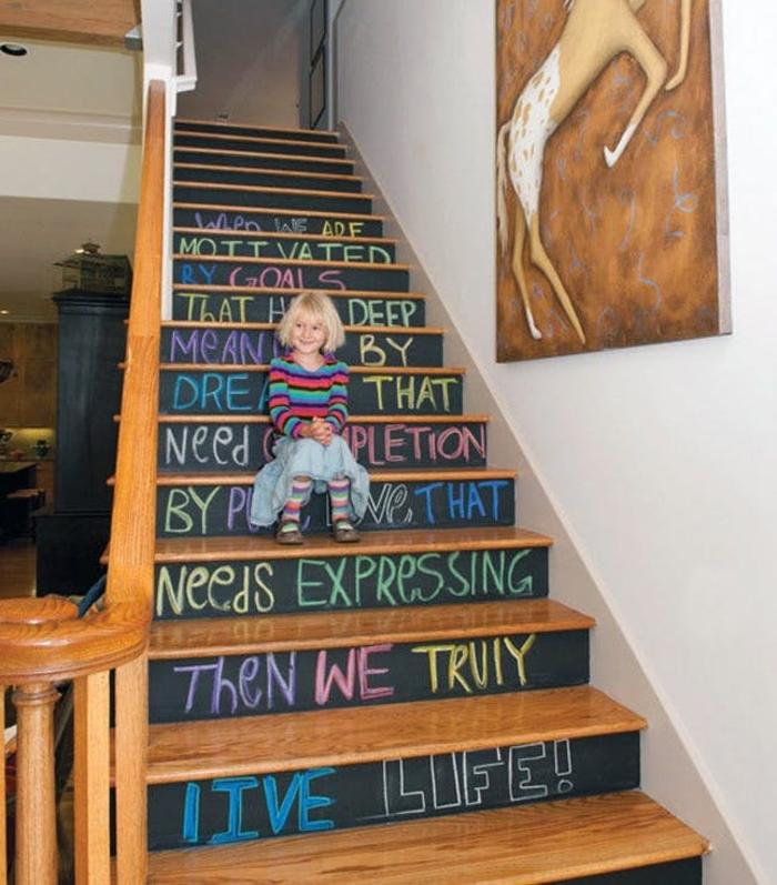 projet amusant de renouvellement d'un escalier repeint de peinture ardoise,aux contre-marches à message à la craie