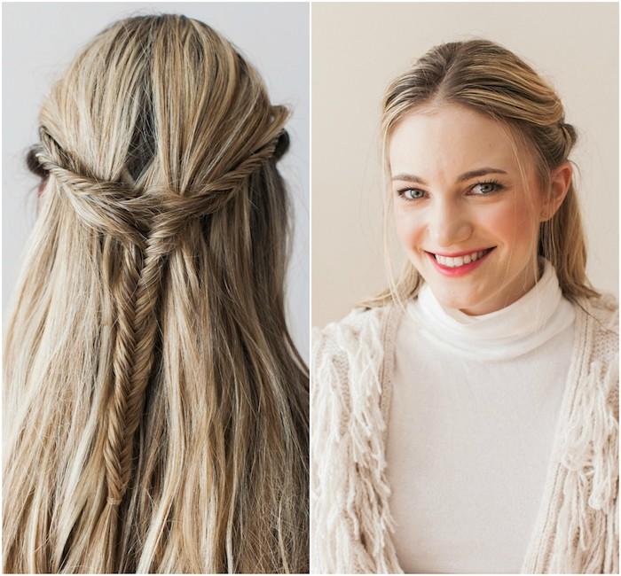 modele de coiffure natte avec des mèches de devant tressées et ramenés en arrière sur cheveux longs en balayage